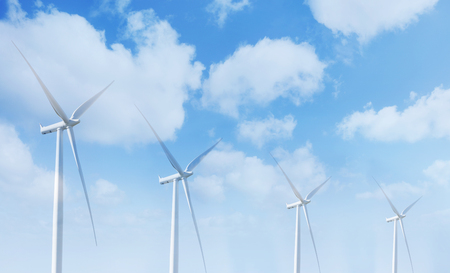 wind farm: Giant wind turbines and clouds