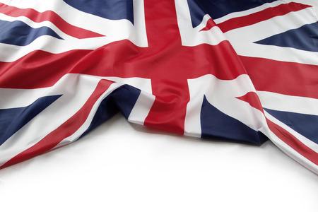 britain flag: Union Jack flag on plain background Stock Photo