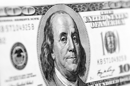 the franklin: Benjamin Franklin on one hundred dollar banknote closeup
