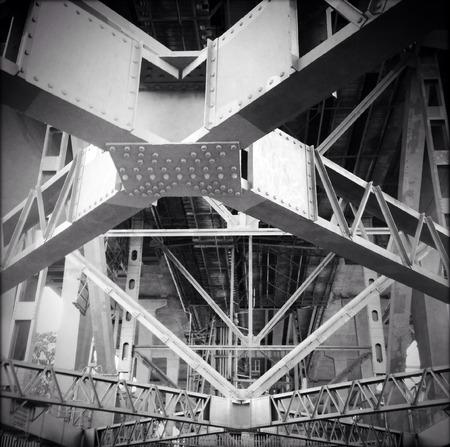 girders: Steel girders support underneath bridge Stock Photo