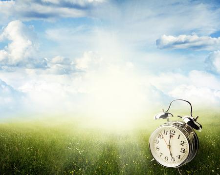 saving: Alarm clock in sunlit spring field