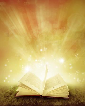 historias biblicas: libro abierto y fondo mágico