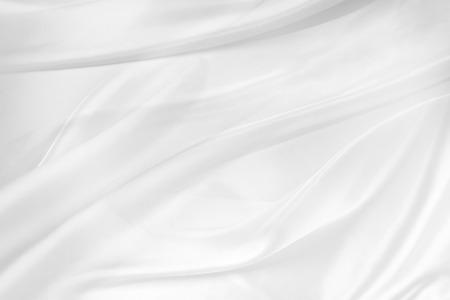 satiny: Closeup of rippled white silk fabric Stock Photo