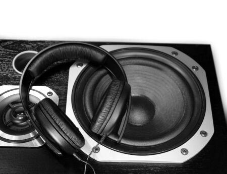 equipo de sonido: Auriculares en altavoces est�reo Foto de archivo
