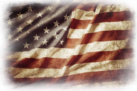 old flag: American flag on plain background Stock Photo