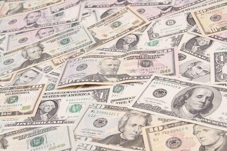 dollaro: Primo piano di banconote americane assortiti