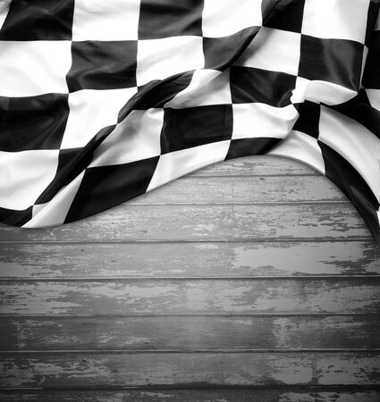 black boards: Checkered black and white flag on boards. Copy space
