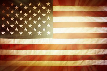 brightly lit: Brightly lit American flag