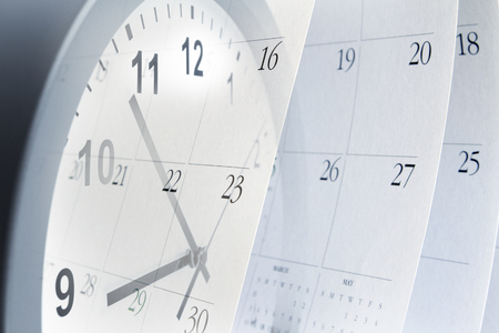 yearly: Clock face and calendar composite Stock Photo