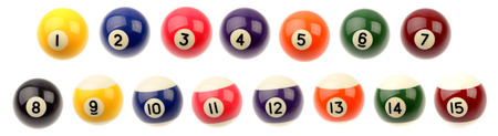 pool balls: Set of fifteen pool balls isolated over white background