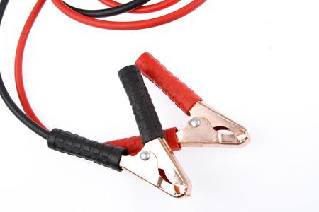jumper: Jumper cables on plain background