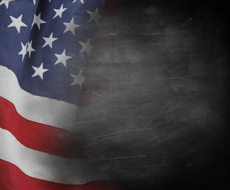 American flag on a blackboard Stock Photo