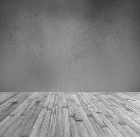 floorboards: Wooden floorboards and grey wall Stock Photo