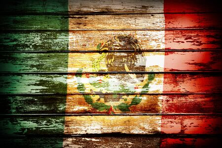 mexican flag: Closeup of Mexican flag on boards Stock Photo