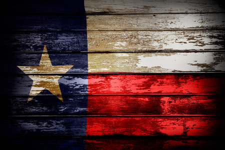 Closeup of Texas flag on boards
