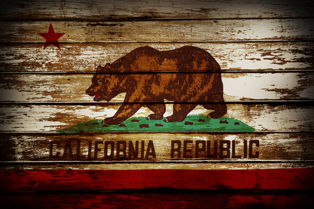 Grunge California flag on boards