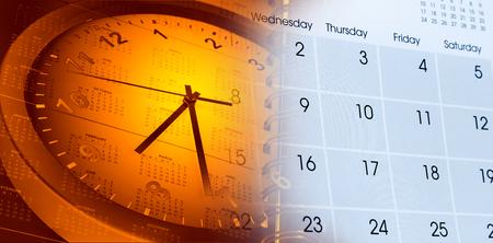 puntualidad: Cara de reloj y calendario compuesto