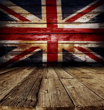 union flag: Union Jack flag on wooden boards
