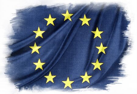 europeans: European Union flag on plain background Editorial