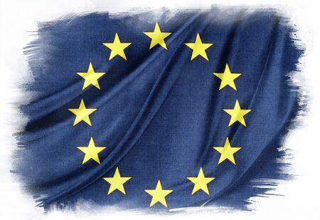 european union flag: European Union flag on plain background Editorial