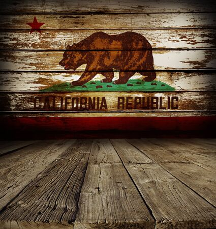 californian: Wooden floor and Californian flag on wall Stock Photo