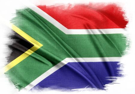 south africa flag: South Africa flag on plain background