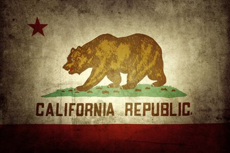 old flag: Closeup of grunge California flag Stock Photo
