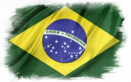 brazilian flag: Brazilian flag on plain background Stock Photo