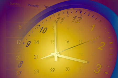 hands  hour: Clock face and calendar composite Stock Photo