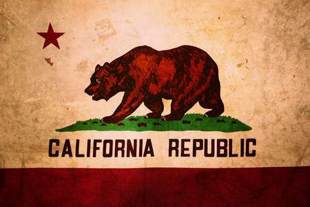 california flag: Closeup of grunge California flag Stock Photo