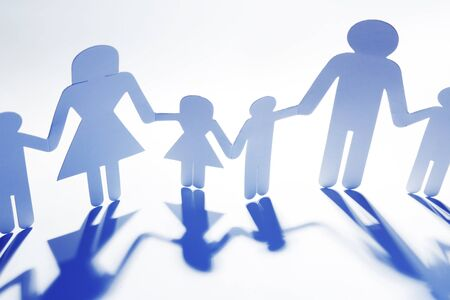 paper chain: Family paper chain cutout holding hands Stock Photo