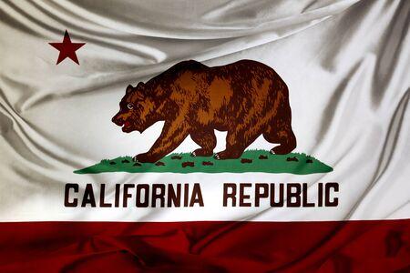 california flag: Closeup of silky California flag Stock Photo