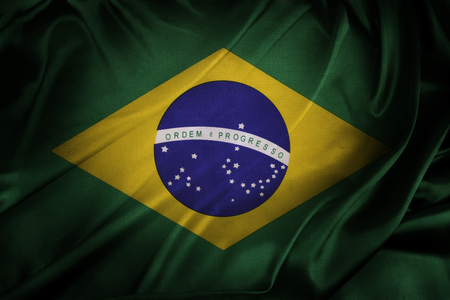 brazilian flag: Closeup of silky Brazilian flag