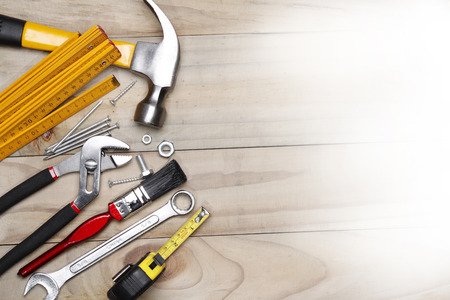 space wood: Assorted work tools on wood. Copy space