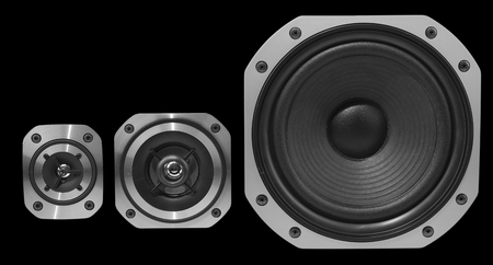 Closeup of three stereo speakers