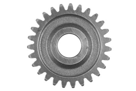 gearing: Metal gear on plain background