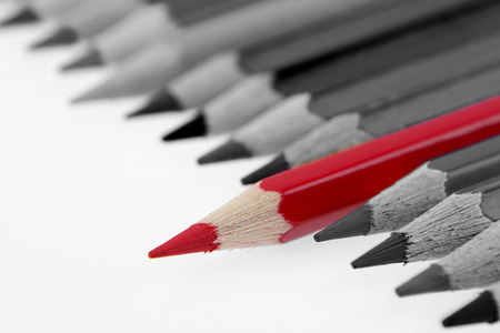 standing out: One red pencil standing out from others Stock Photo