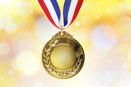Closeup of golden medal