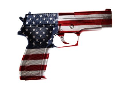 one armed: Handgun and American flag composite Stock Photo