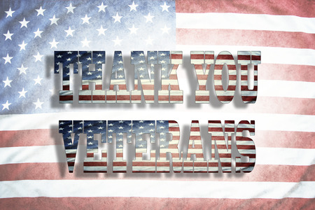 armed services: Thank you Veterans wording on American flag