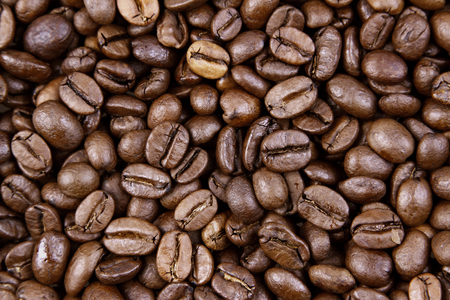 studio shots: Closeup of roasted coffee beans Stock Photo