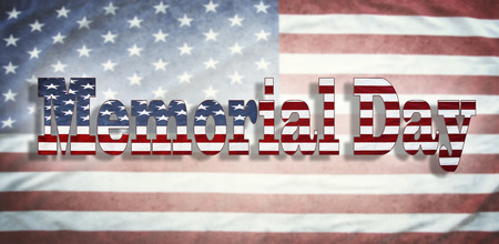 wording: Memorial Day wording on American flag Stock Photo