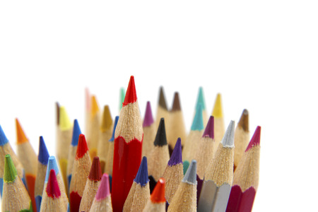 standing out: Red pencil standing out from others