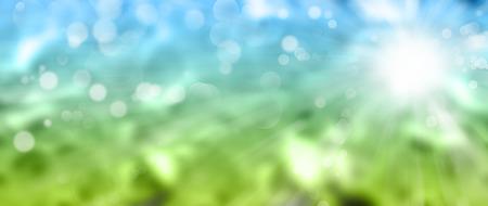 日当たりの良い青い緑の抽象的な背景