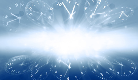 time flies: Clocks on blue background. Copy space