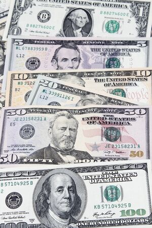 business funds: Closeup of assorted American banknotes