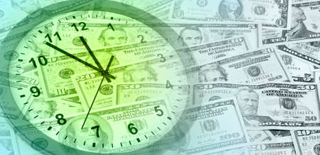 american currency: Clock face and American currency Stock Photo