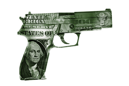 weaponry: Handgun and American cash composite