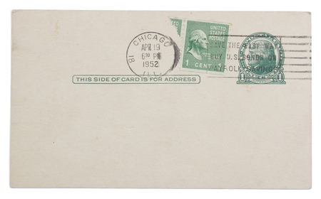 stamped: Postmarked and stamped 1952 postcard