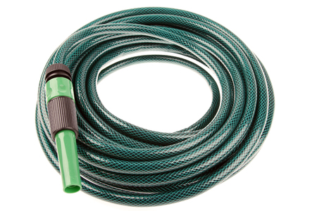 coiled: Garden hose coiled on plain background